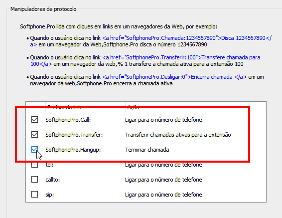 Enable  SoftphonePro.Call,  SoftphonePro.Transfer, SoftphonePro.Hangup protocol handlers